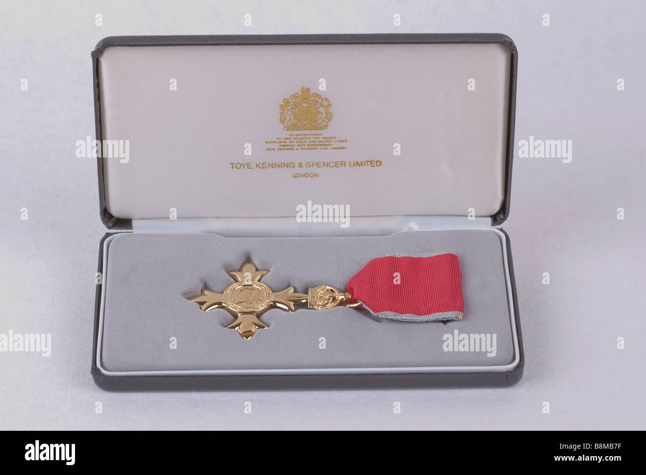 Order of the British Empire OBE Honours award emblem medal and ribbon in presentation box UK - Stock Image