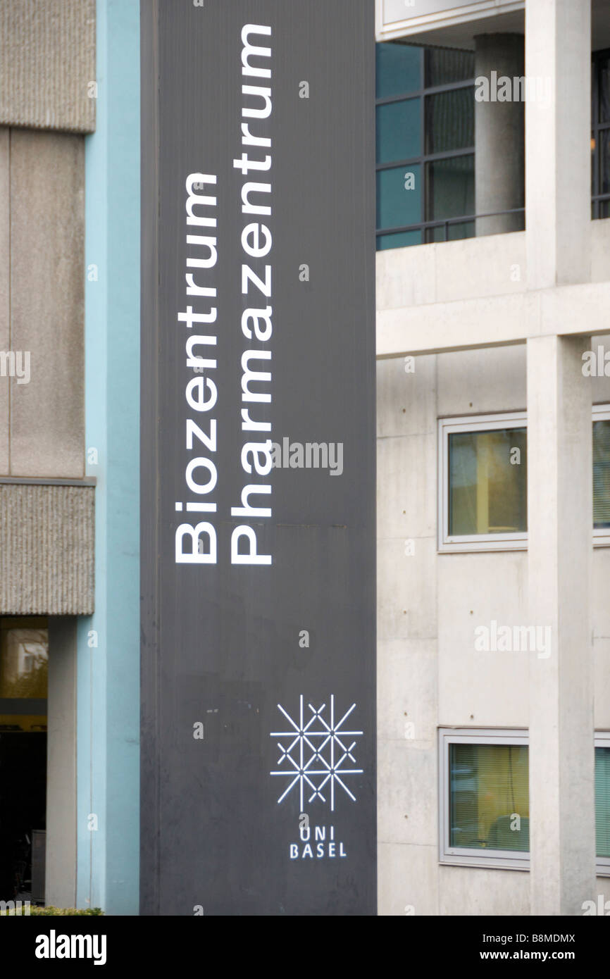 The sign at the entrance to the Bio Center of the University of Basel, Switzerland, Europe. - Stock Image