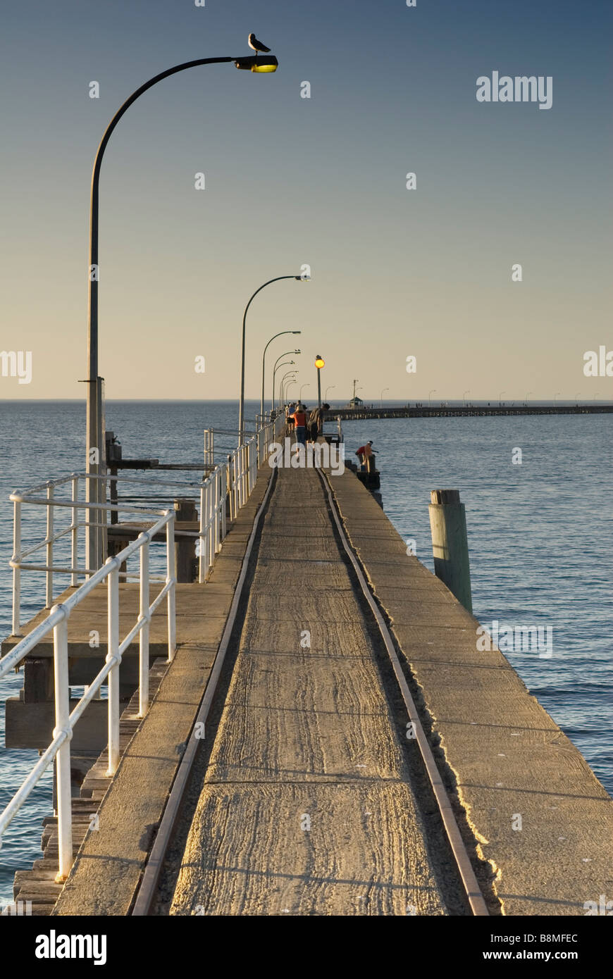 Busselton Jetty with old rail line - Stock Image