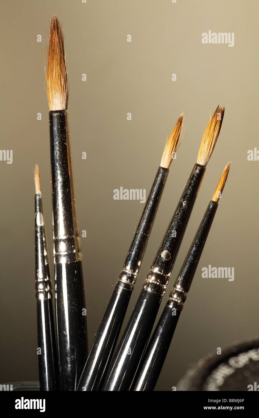 Artists painting brushes - Stock Image