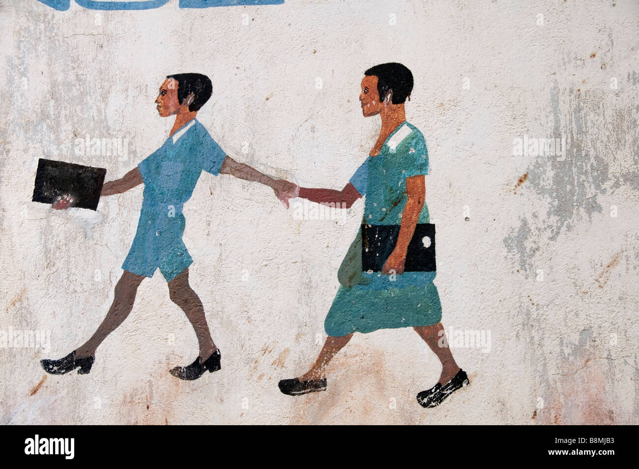Malawi 2008 Education Wall Painting Of Girl And Boy Walking To