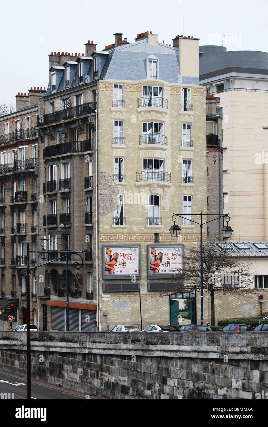 Ugly gable wall painted over paris number 2703 - Stock Image