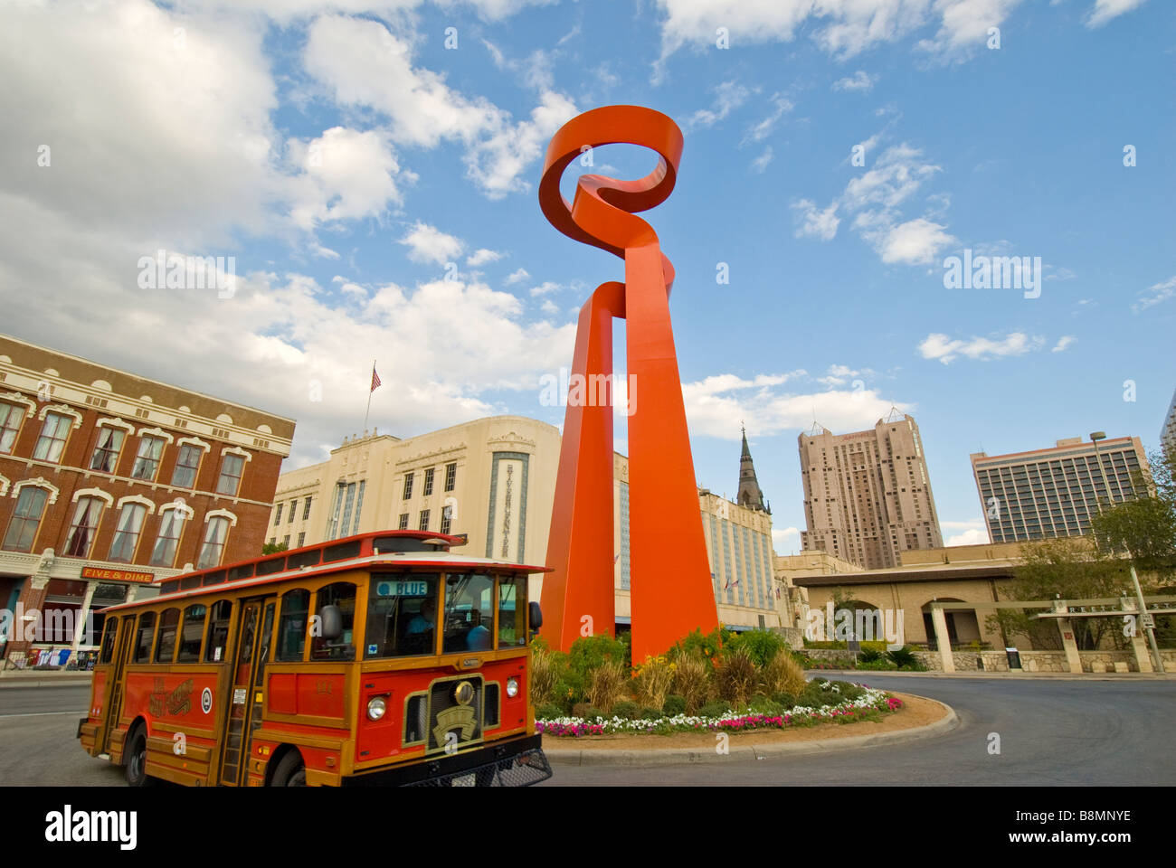 Torch of Freedom in downtown San Antonio Texas tx orange public modern art statue - Stock Image