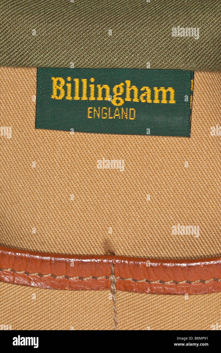 A close up of a Billingham camera photography bag made in England showing logo - Stock Image