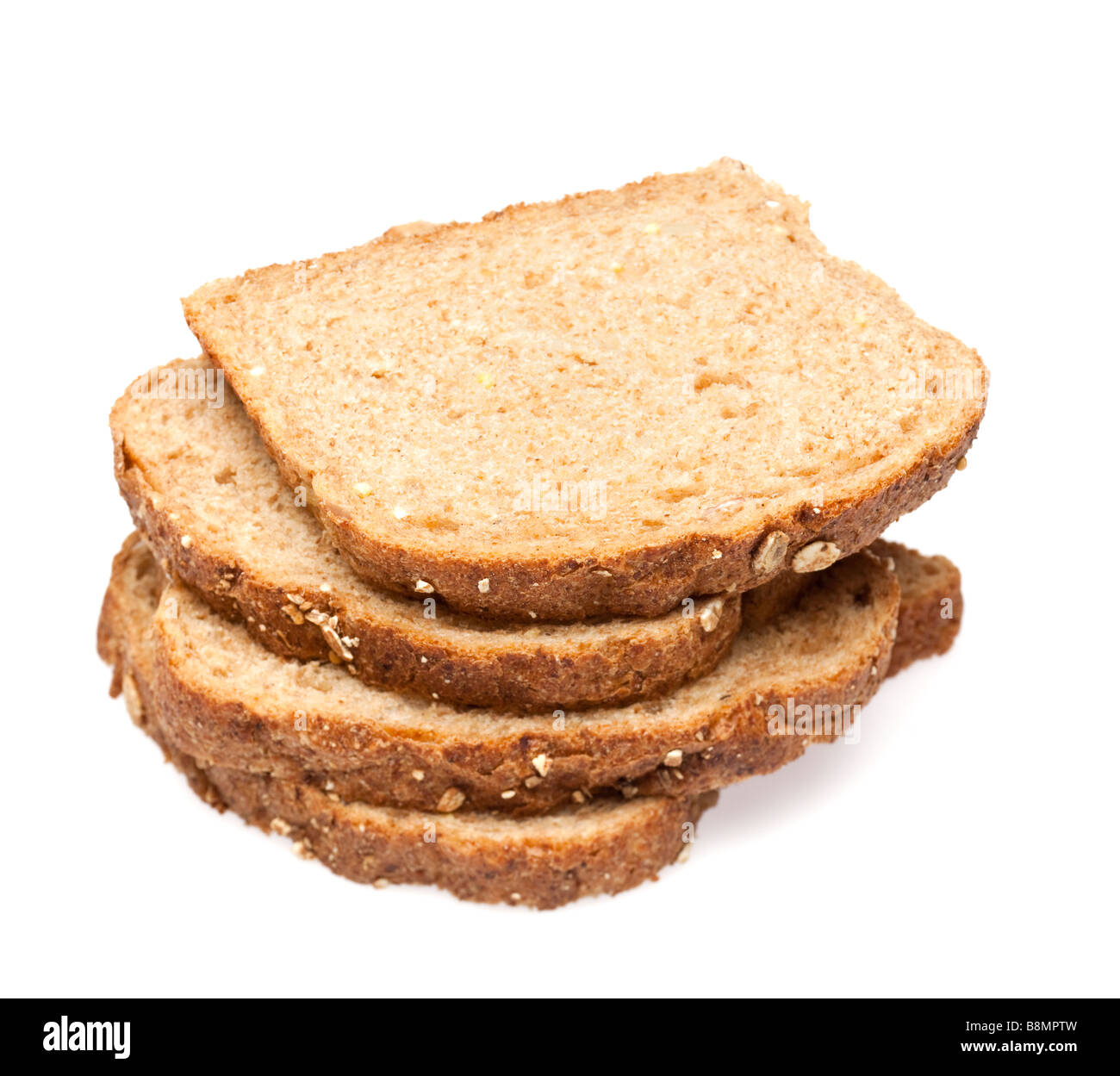 Granary bread slices on white cutout - Stock Image