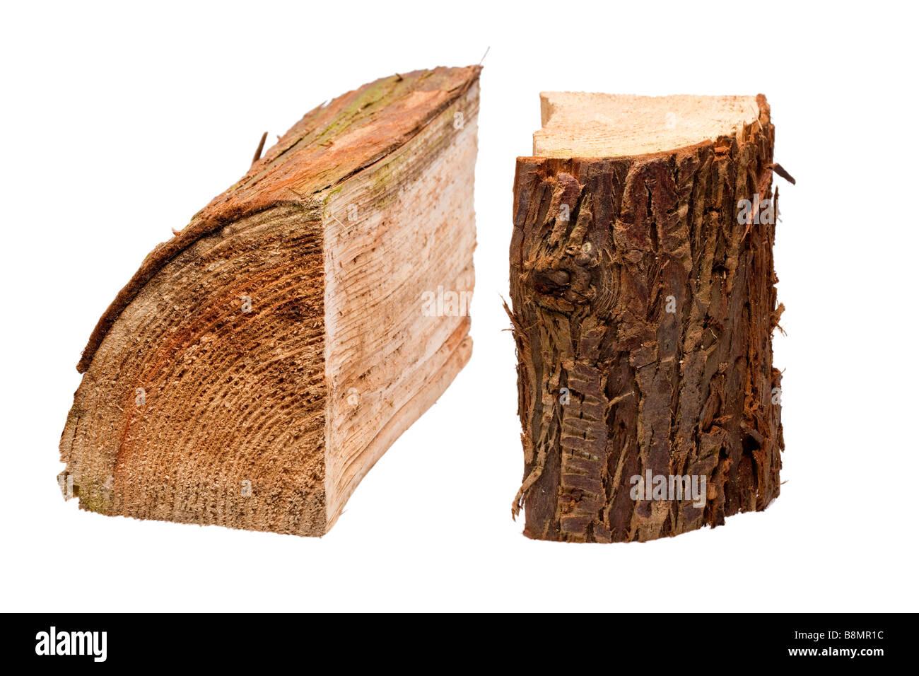 Cut logs on white cutout - Stock Image