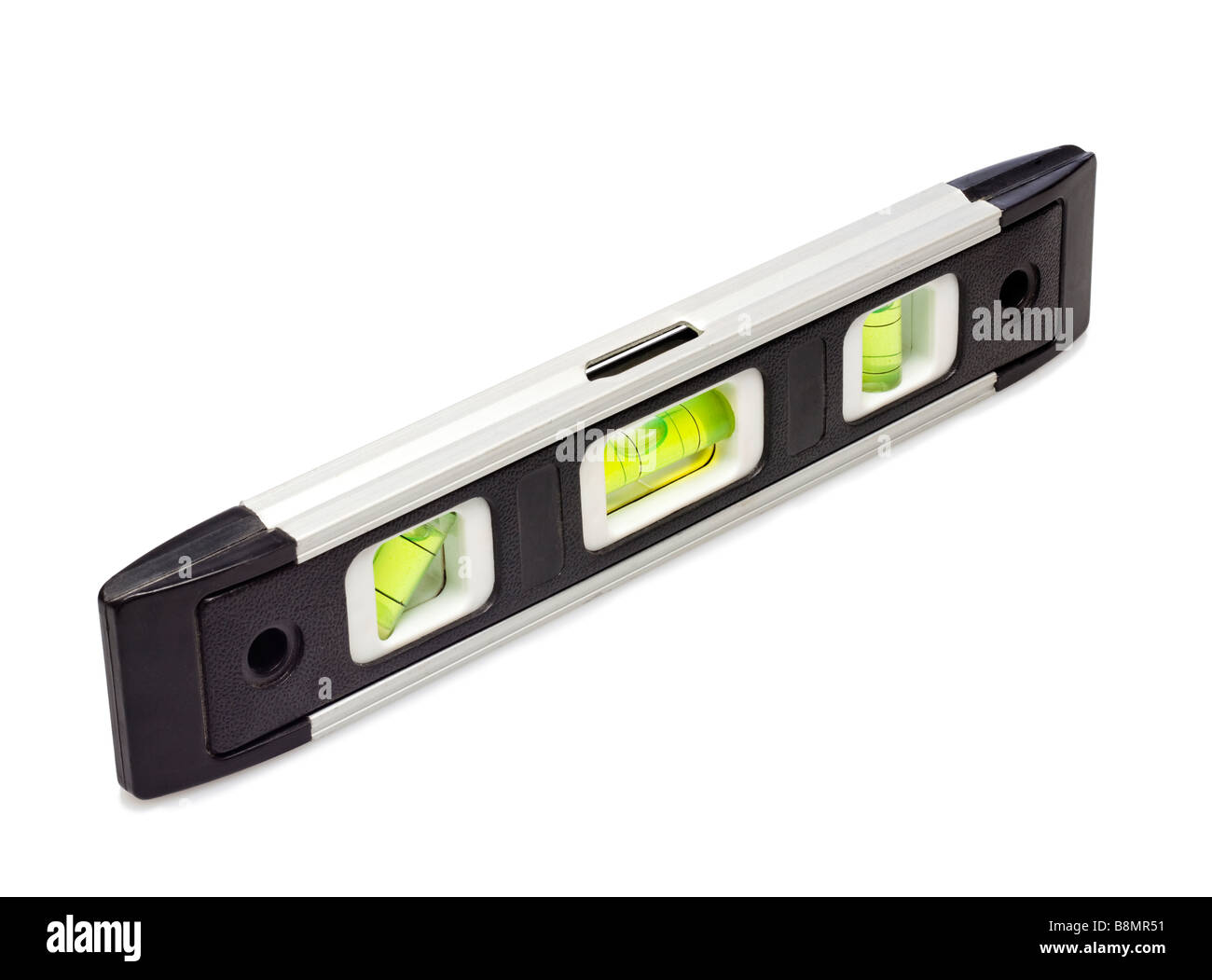 Spirit level on white cutout - Stock Image
