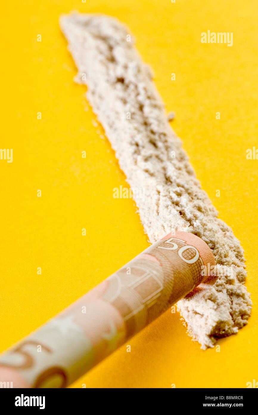 Line of cocaine - Stock Image