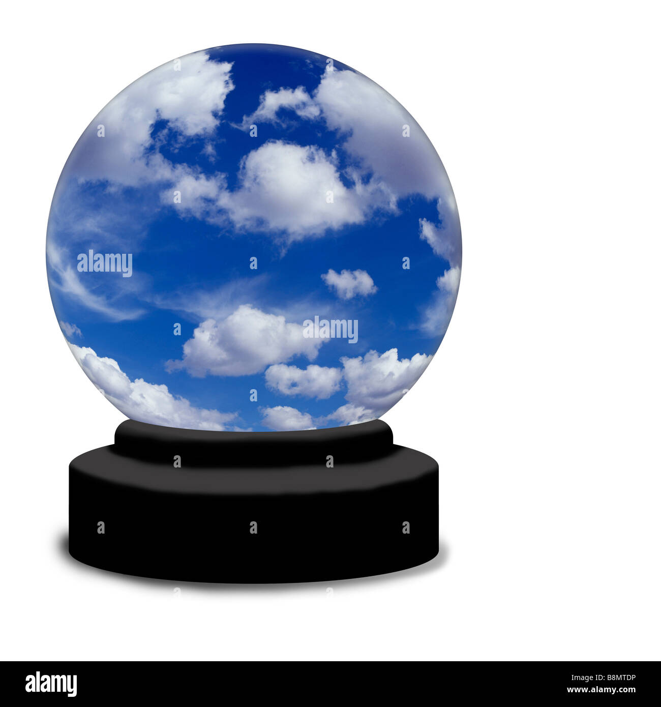 A crystal ball on a white background The globe contains a bright blue summer sky with white fluffy clouds - Stock Image