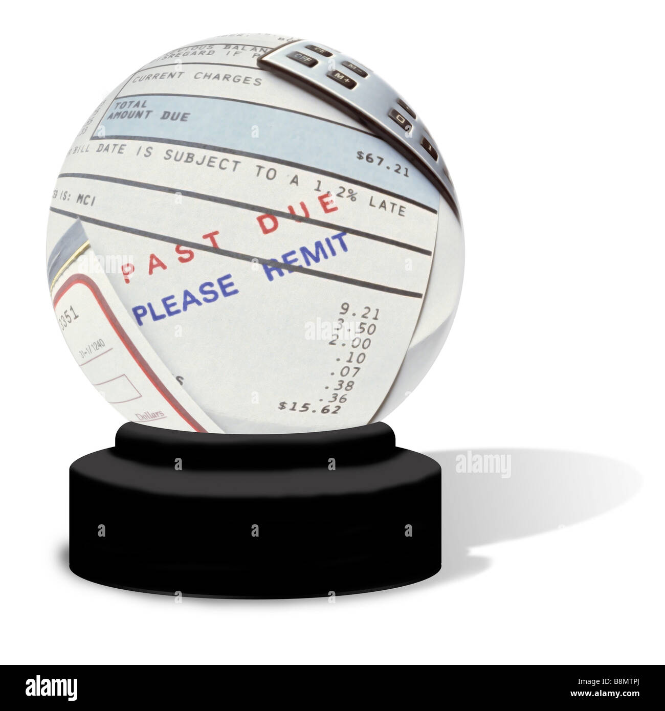 A crystal ball on a white background The globe contains an unpaid bill with Past Due Please Remit stamped on it - Stock Image