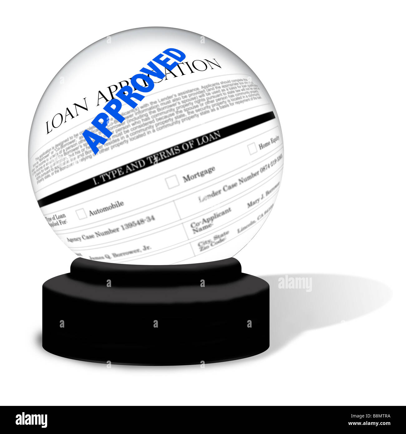 A crystal ball on a white background The globe contains an image of a loan application form with the word Approved - Stock Image