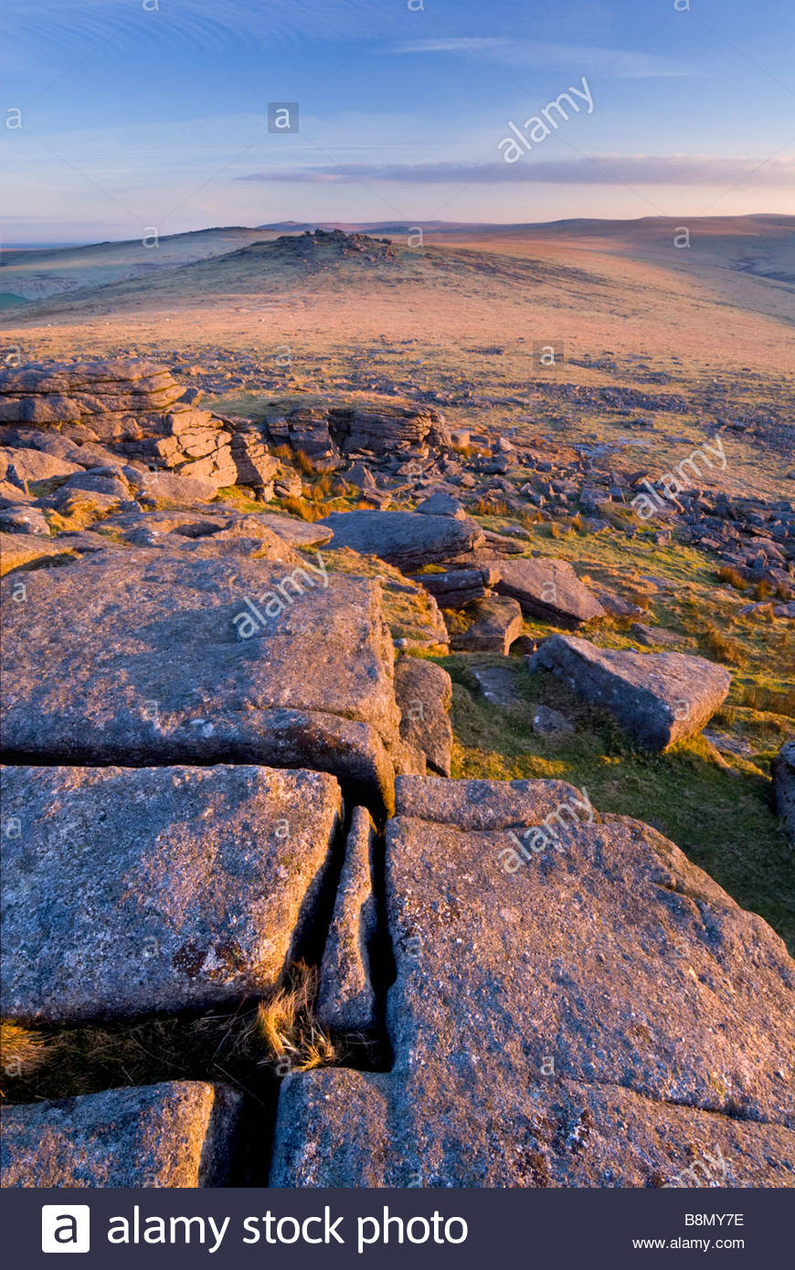 Roos Tor from Great Staple Tor, Dartmoor National Park, Devon, England, UK. Stock Photo