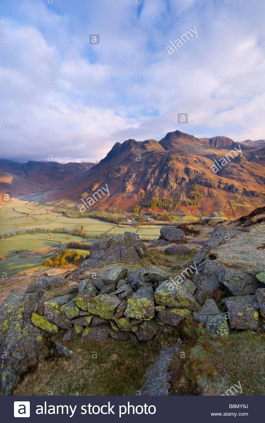 The Langdale Pikes and Valley, from Side Pike, Lake District National Park, Cumbria, England, UK. - Stock Image