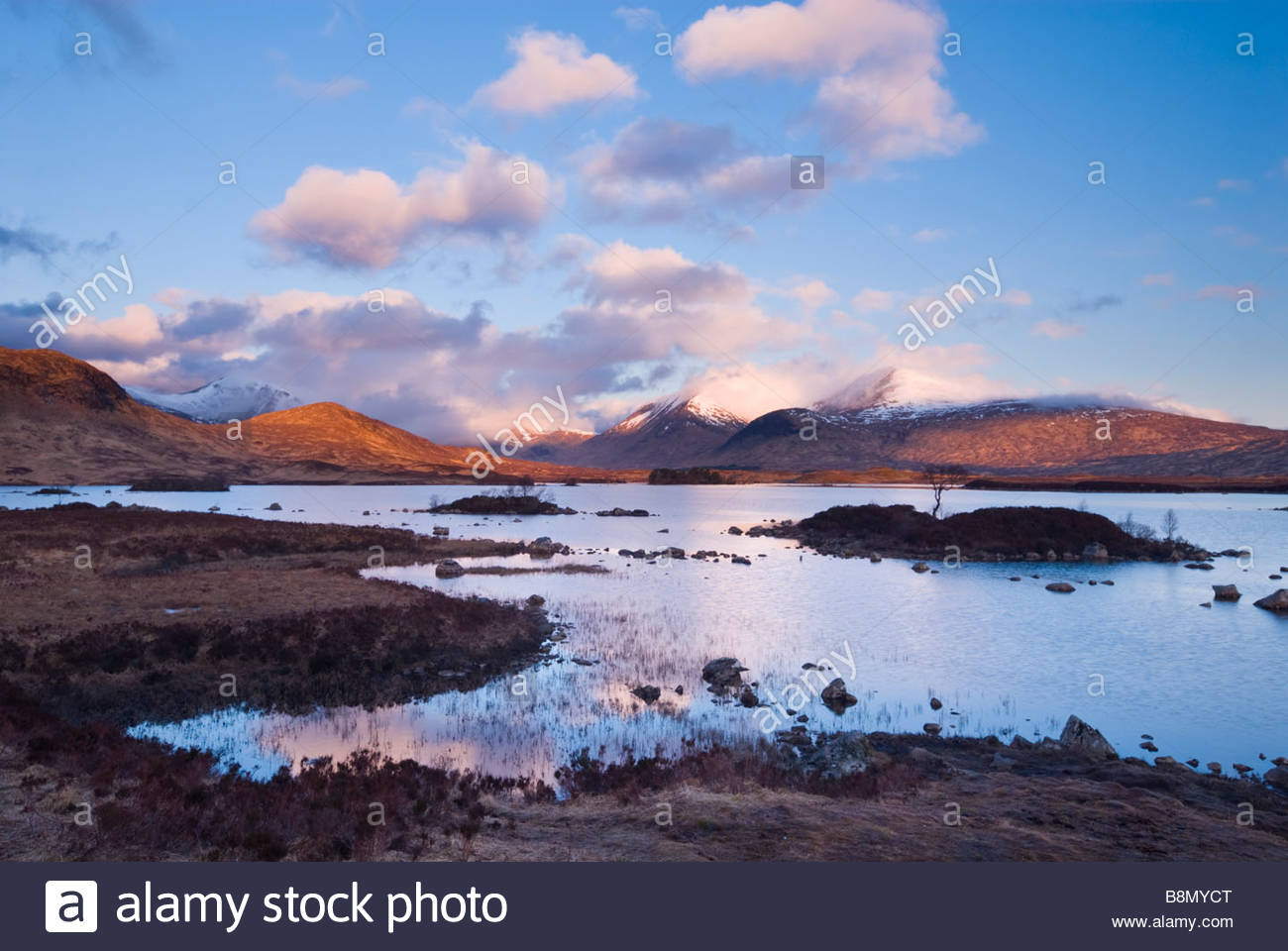 Clearing storm over Lochan na h'Achlaise and the Black Mount, Rannoch Moor, Scottish Highlands, UK. - Stock Image