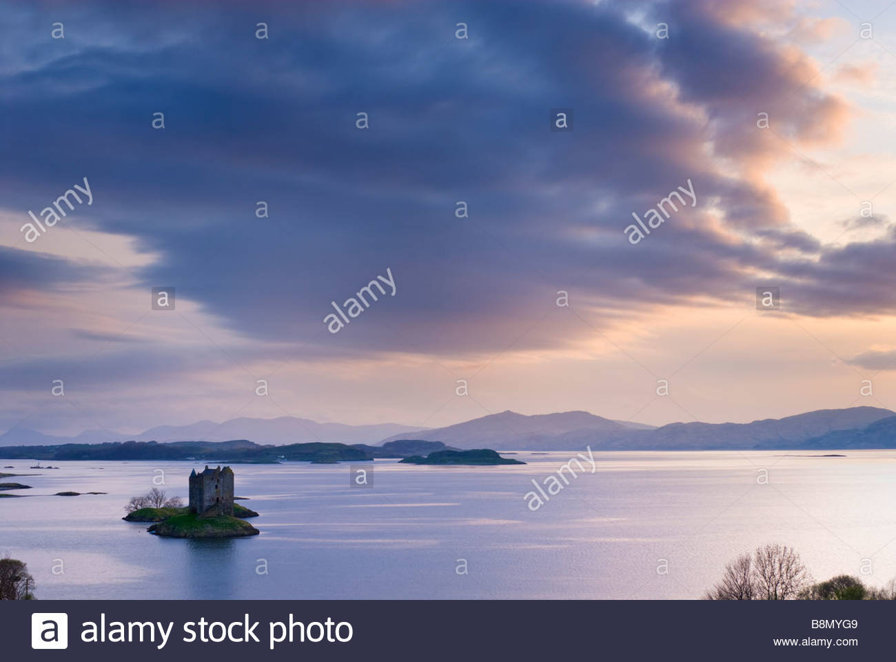 Castle Stalker on the shores of Loch Laich, near Oban, Scotland, UK. - Stock Image