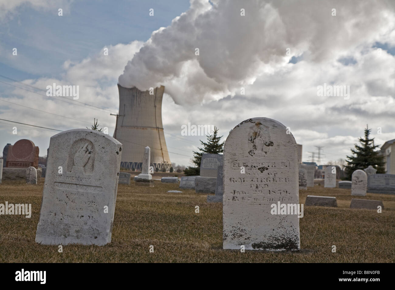 Nuclear Power Plant and Cemetery - Stock Image