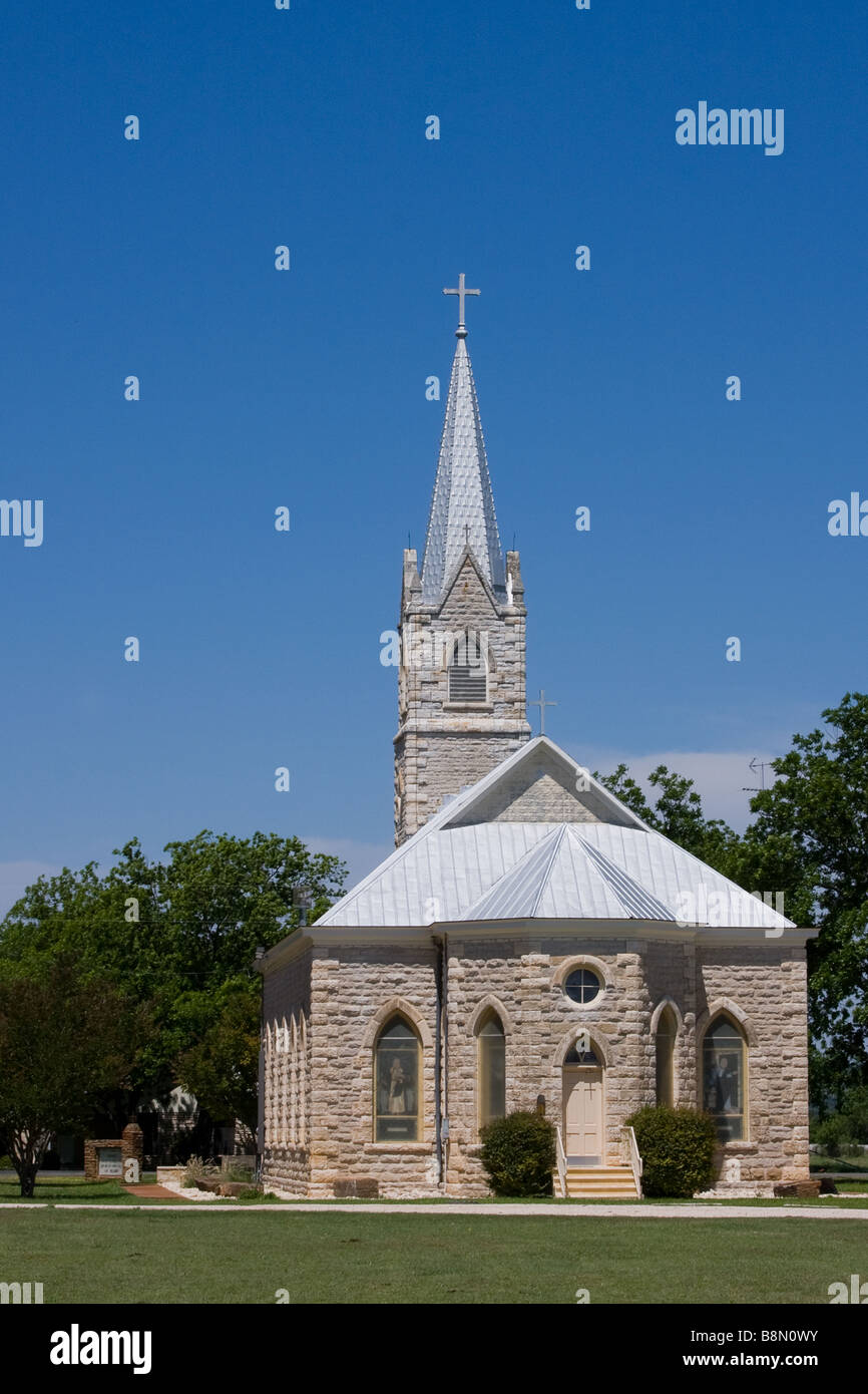 Church in small town. - Stock Image