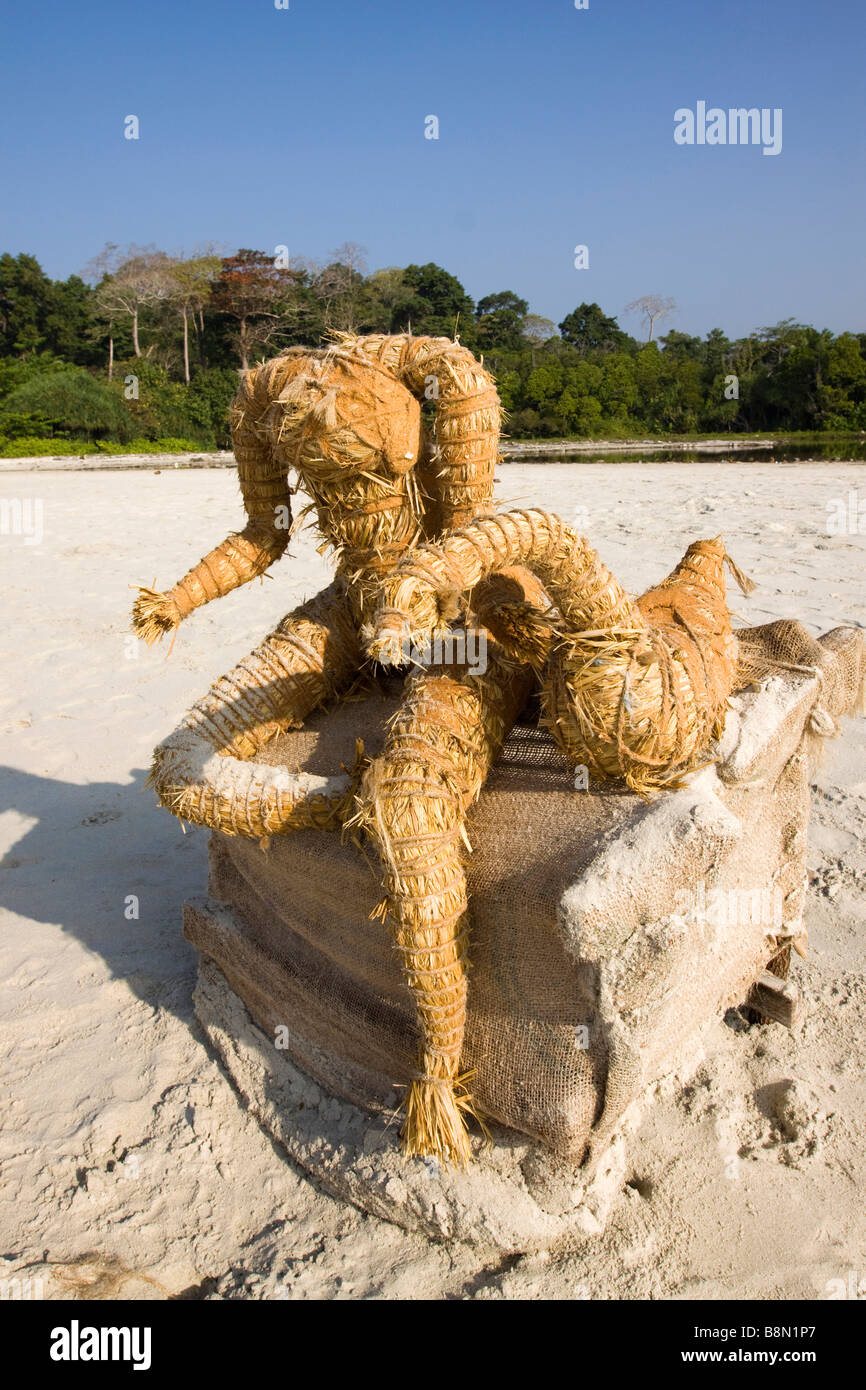 India Andaman and Nicobar Havelock island Radha Nagar Burmese deity washed up on beach - Stock Image