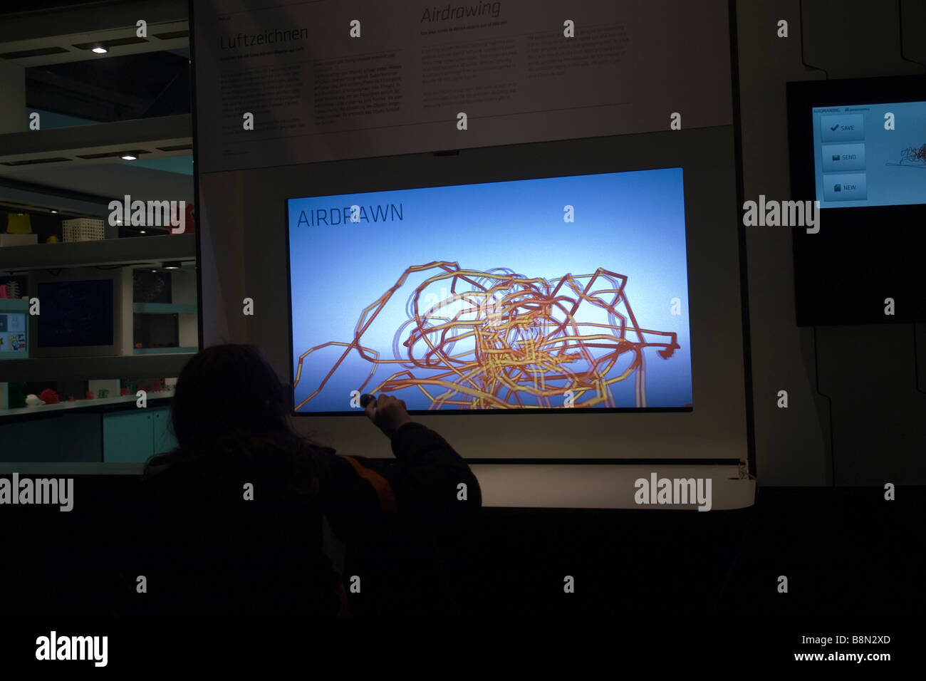 3D airdrawn with special spectacles - Ars Electronica Museum - Linz - Austria - Stock Image