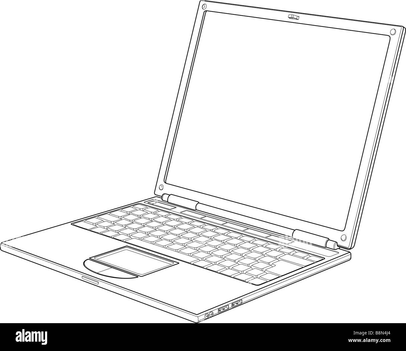Laptop outline vector illustration - Stock Image