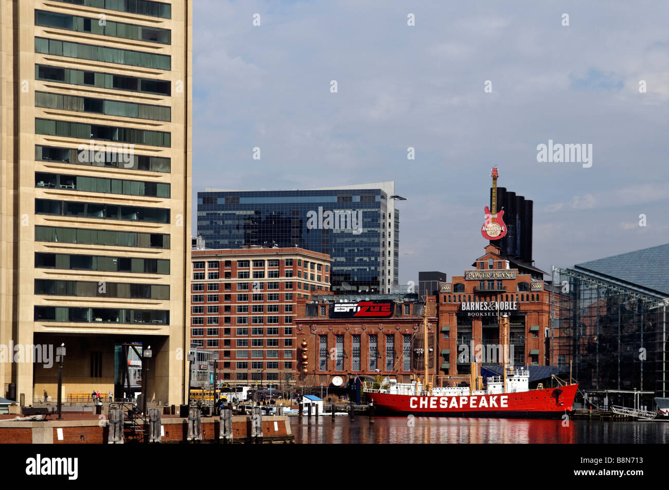 Baltimore Maryland, Downtown Baltimore Inner Harbor Cityscape - Stock Image