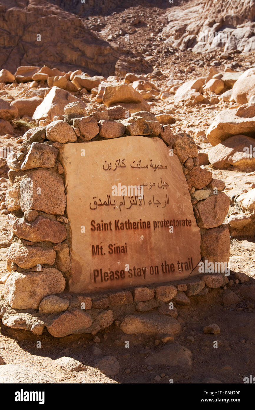 trail sign to the summit of Mount Sinai, Egypt - Stock Image
