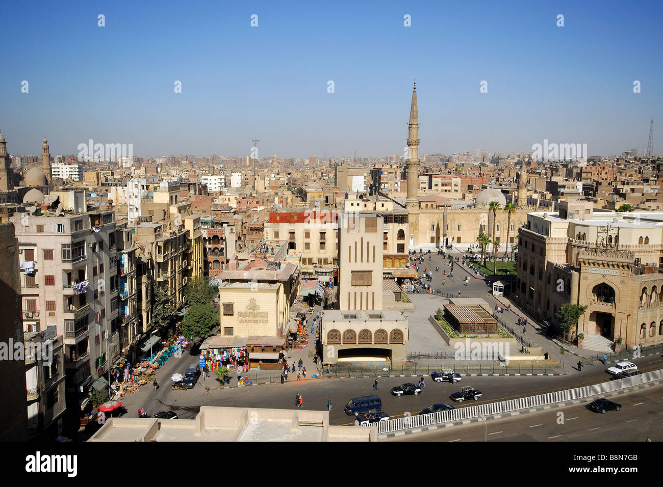 CAIRO, EGYPT. A view over the Khan el-Khalili Bazaar area of Islamic Cairo. 2009. - Stock Image