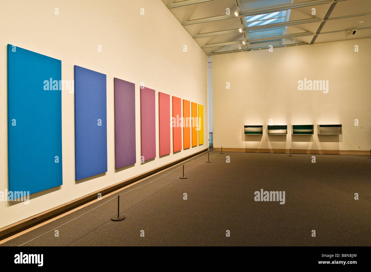 An series of monochromatic paintings at the Metropolitan Museum of Art - Stock Image