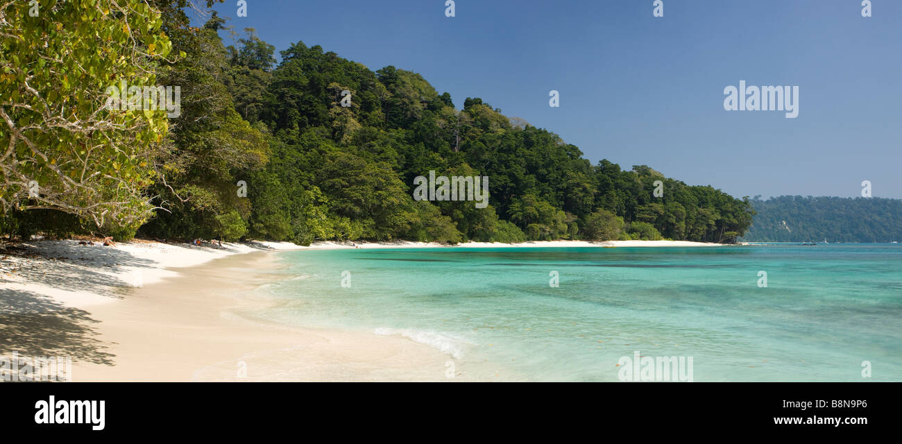 India Andaman and Nicobar Havelock island Radha Nagar number 7 lagoon beach panoramic - Stock Image