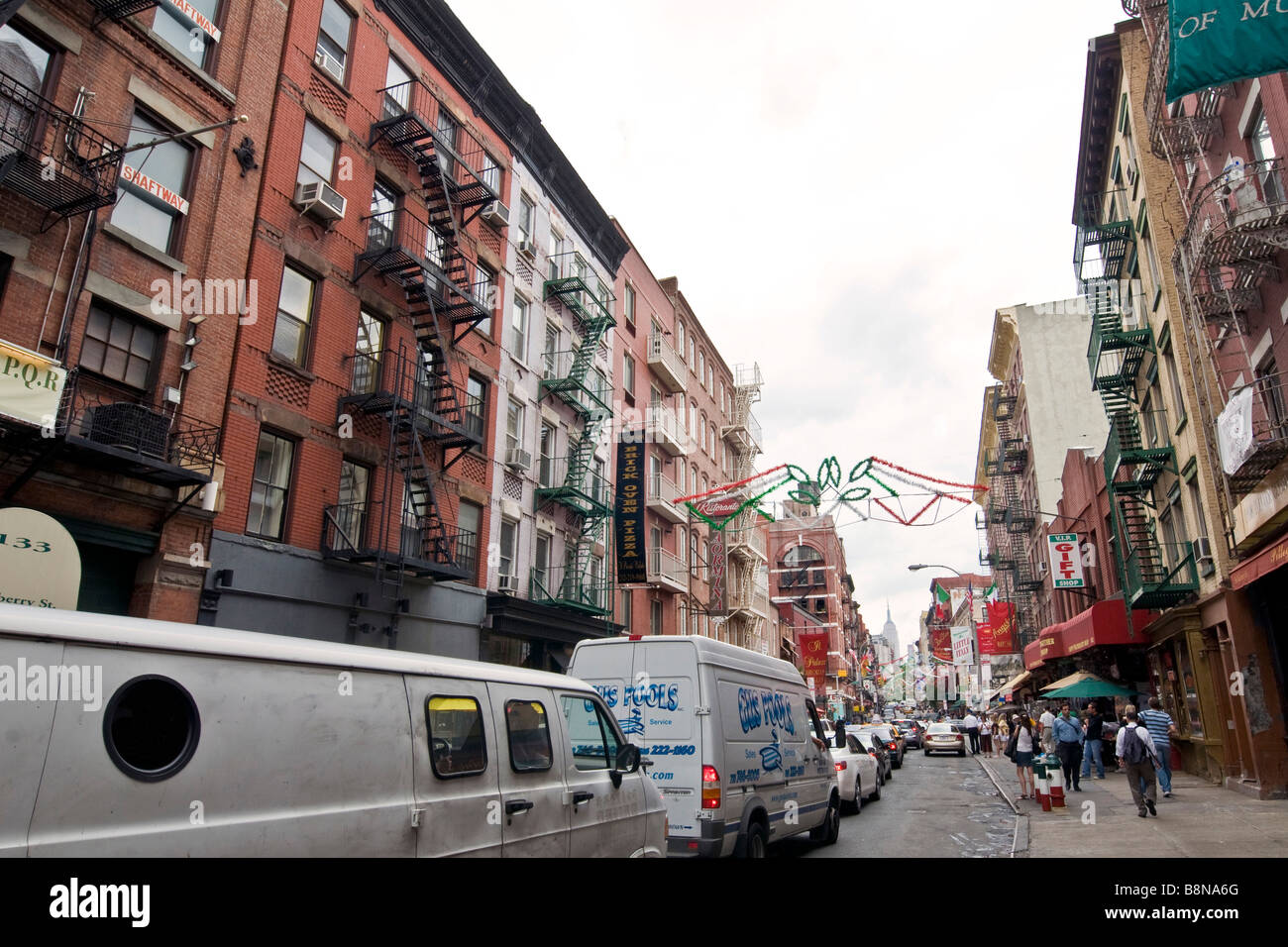 Street scene in Italian neighbourhood of Manhattan known as Little Italy - Stock Image