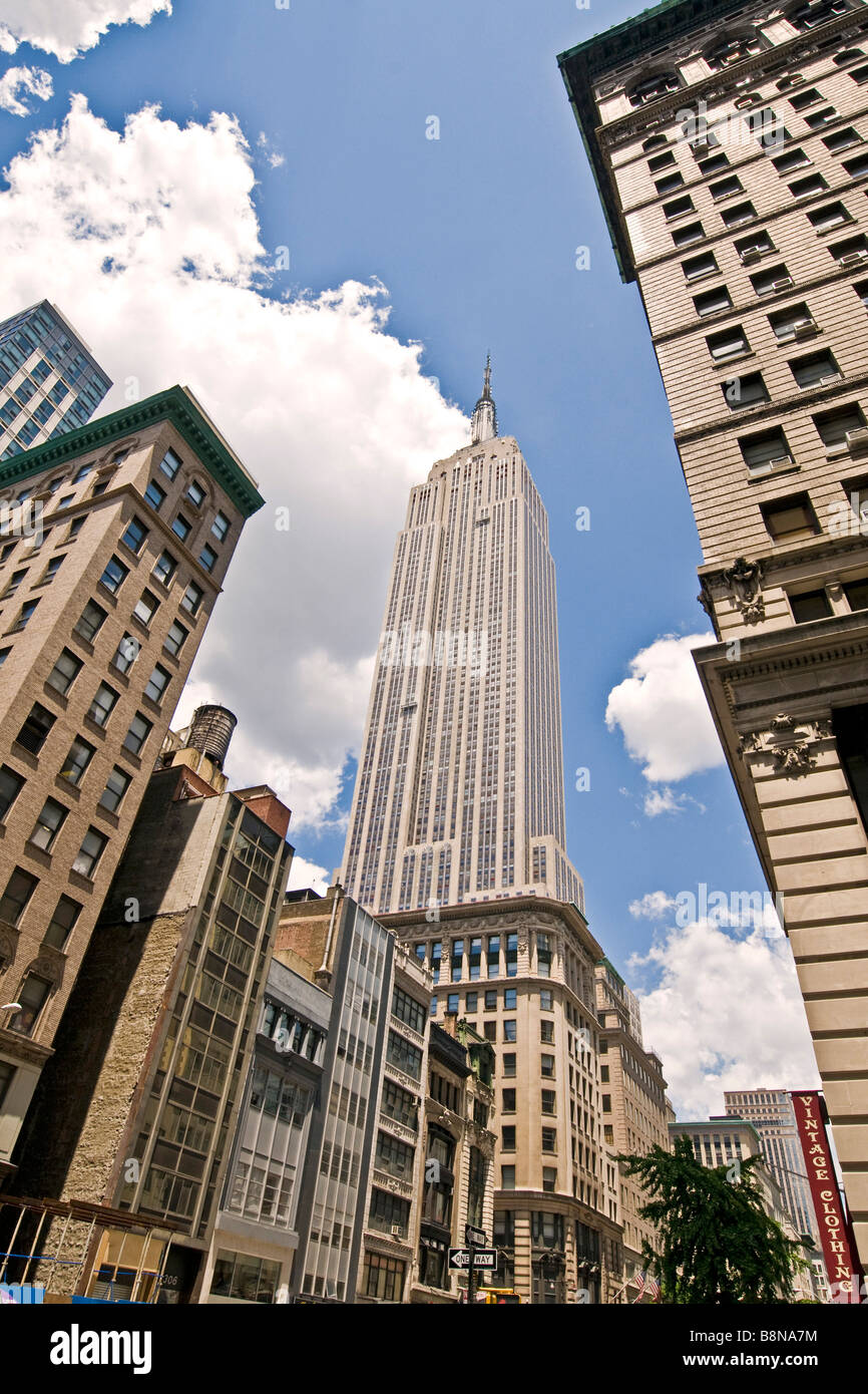Low angle view of Manhattan skyscrapers including the Chrysler building - Stock Image