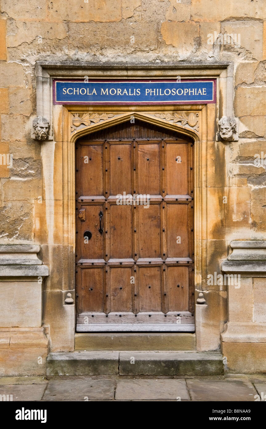 Doorway to Schola Moralis Philosophiae at the Old Schools Quadrangle of the at the Bodleian Library - Stock Image