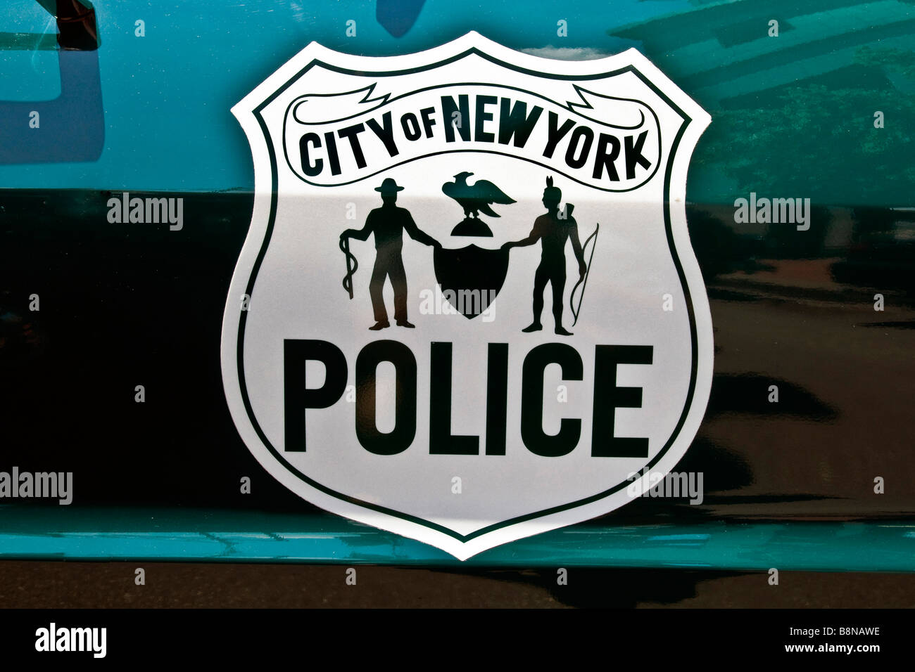 Close-up of emblem on the door of a City of New York Police vehicle at The new York city police museum - Stock Image