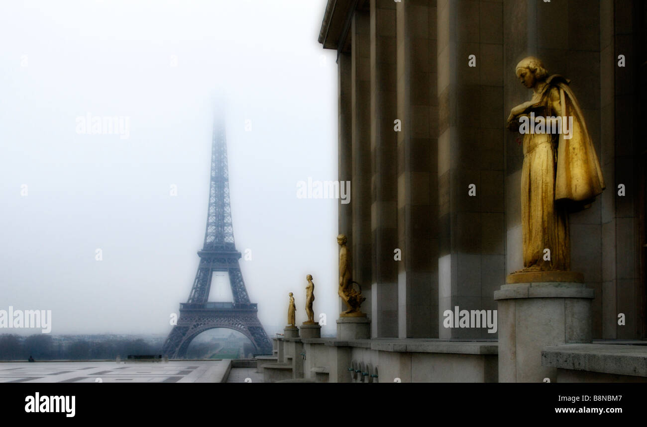 View of the Eiffel Tower in the Rain - Paris, France - Stock Image