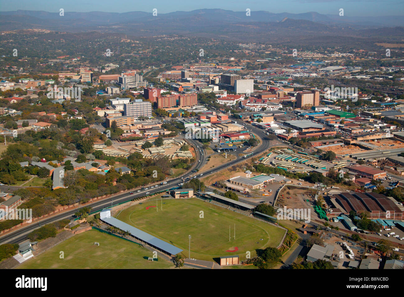 Aerial view of Nelspruit town and surrounding areas - Stock Image