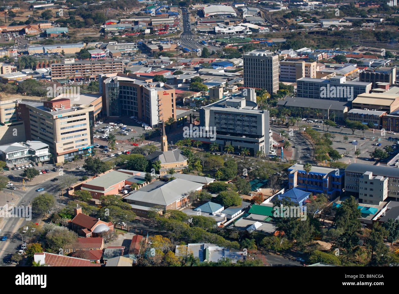 An aerial view of the Nelspruit town centre - Stock Image
