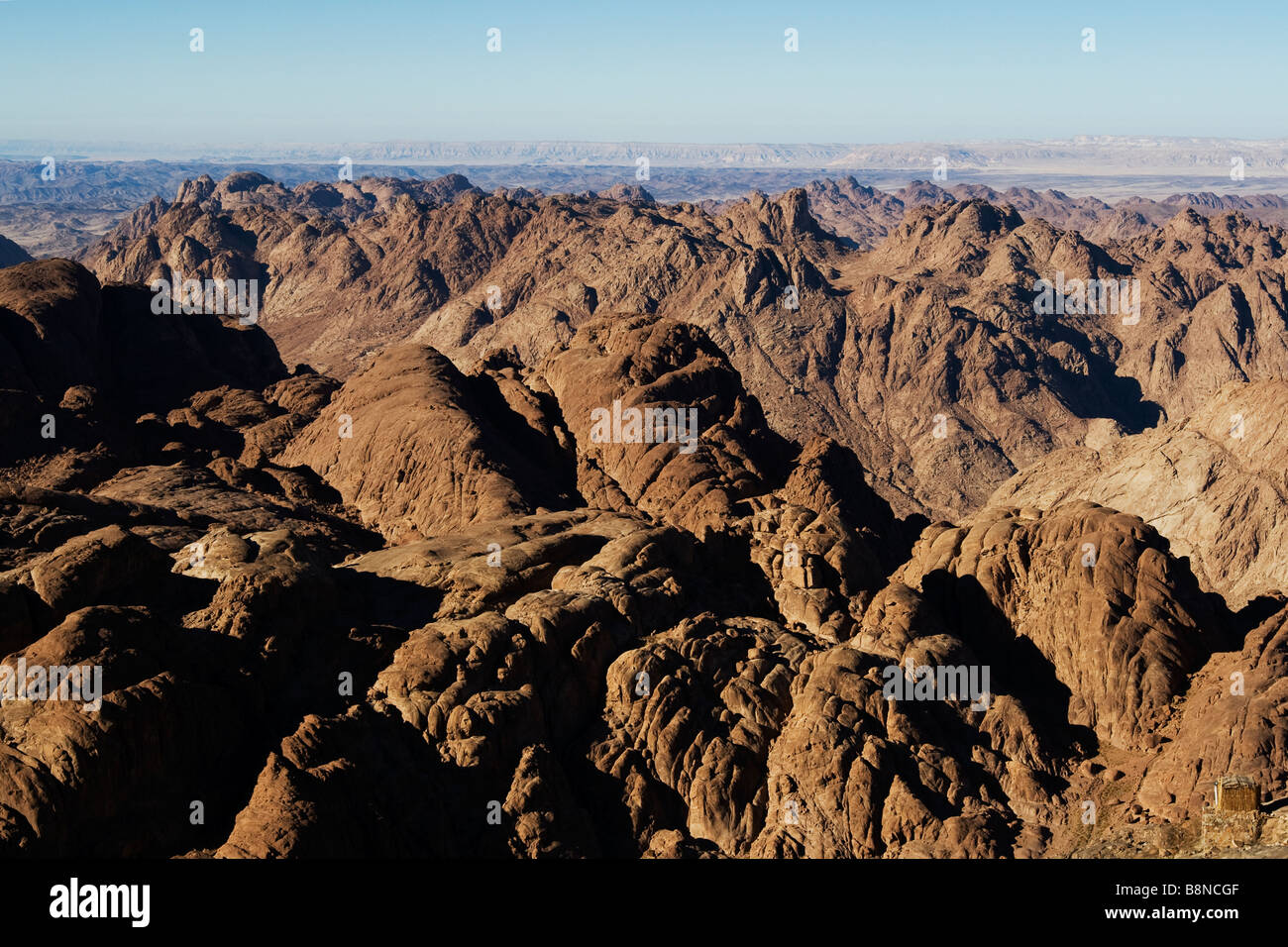 View from the summit of Mount Sinai 'the mount of God', Egypt - Stock Image