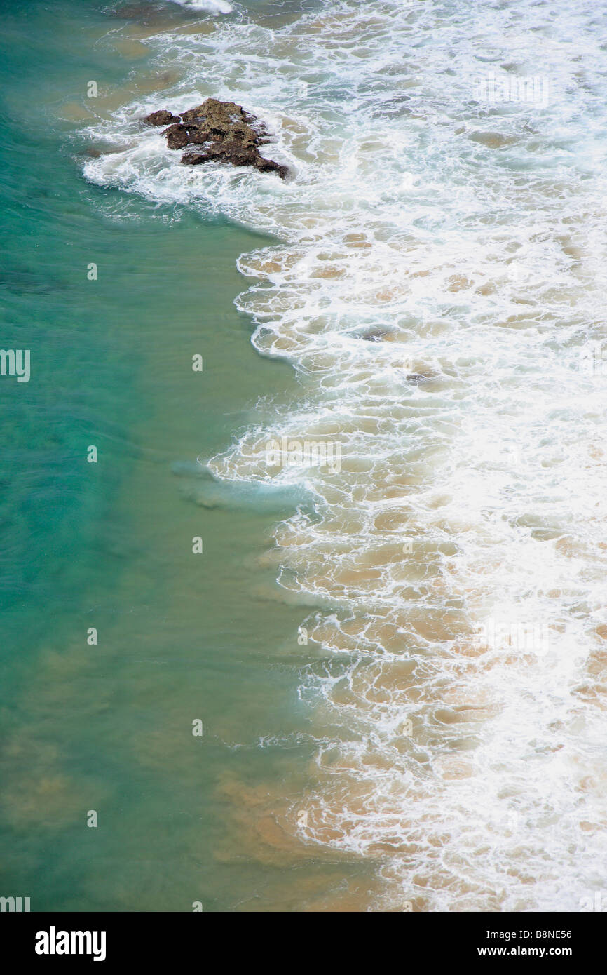 Aerial view of breakers on the coast line - Stock Image