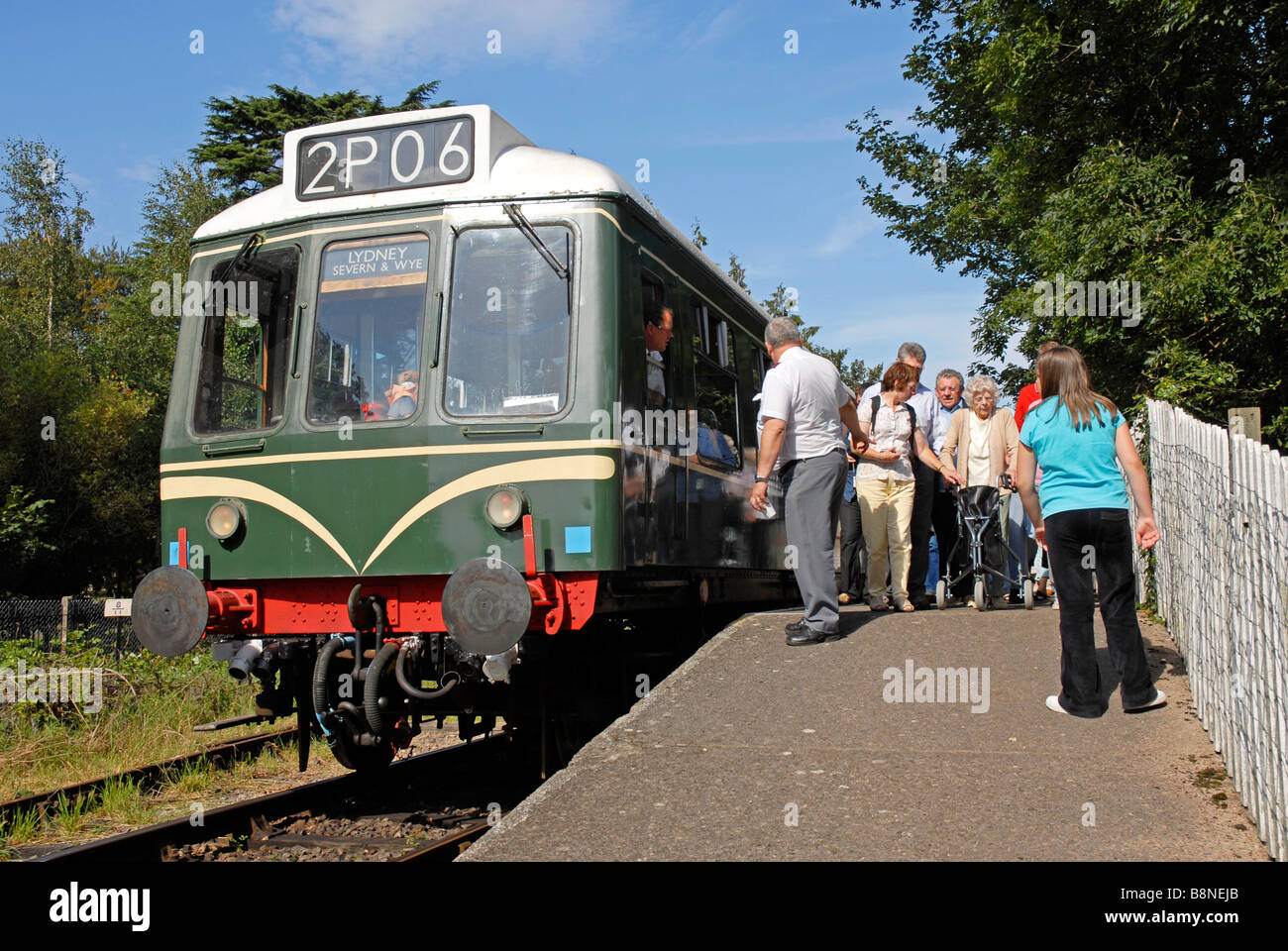 Passengers alighting from diesel locomotive on Forest of Dean Railway, Gloucestershire Stock Photo