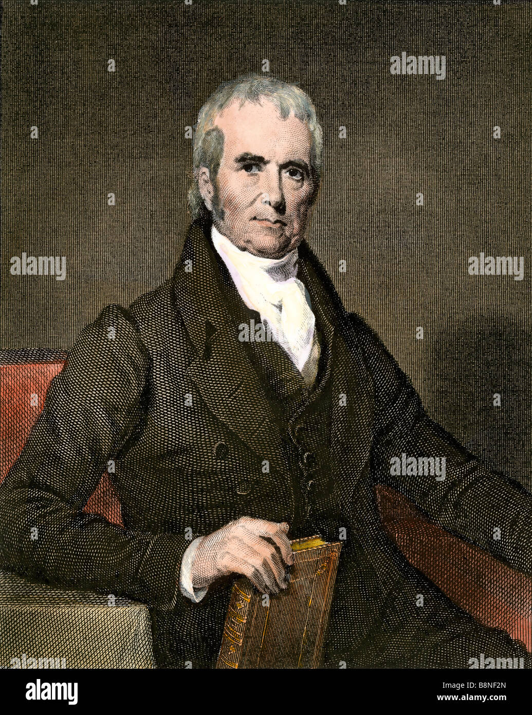 Chief Justice John Marshall. Hand-colored steel engraving - Stock Image