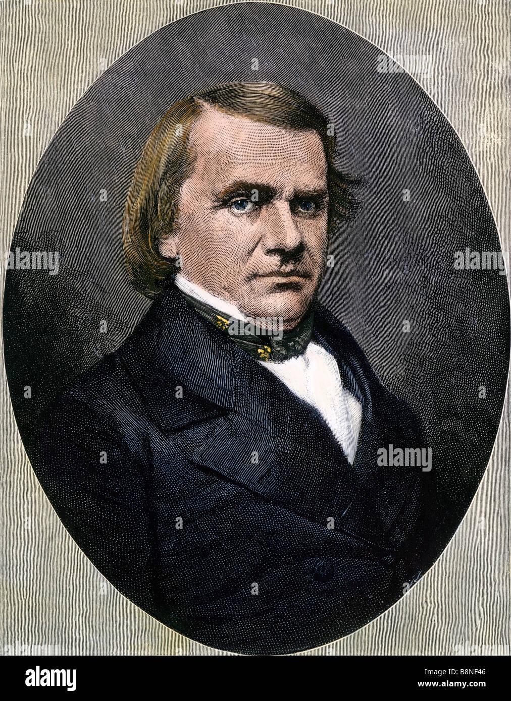 Stephen A. Douglas portrait. Hand-colored woodcut - Stock Image