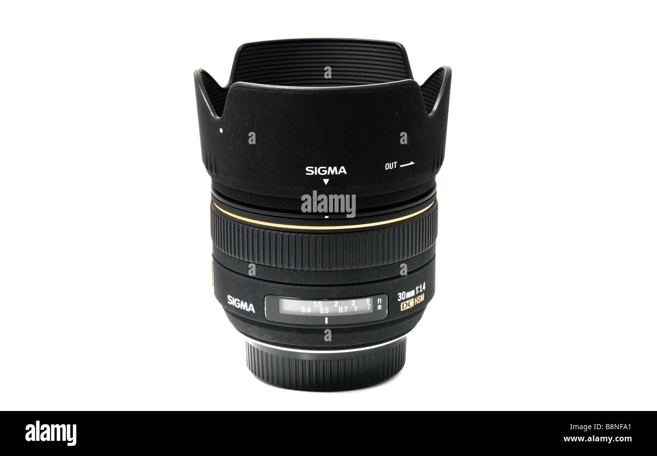 Pack-shot of the Sigma 30mm f1.4 lens Stock Photo