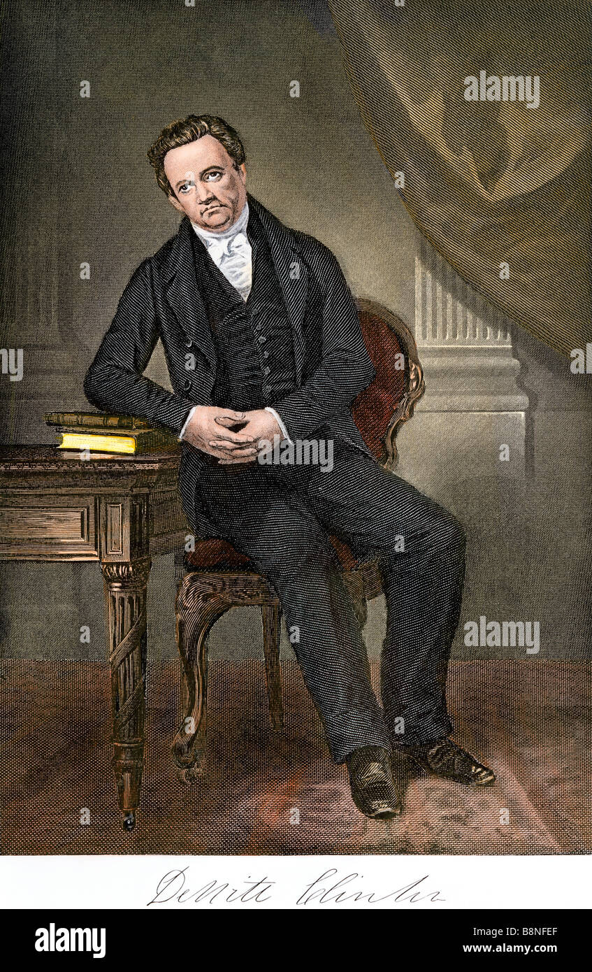 DeWitt Clinton with his autograph. Hand-colored steel engraving - Stock Image