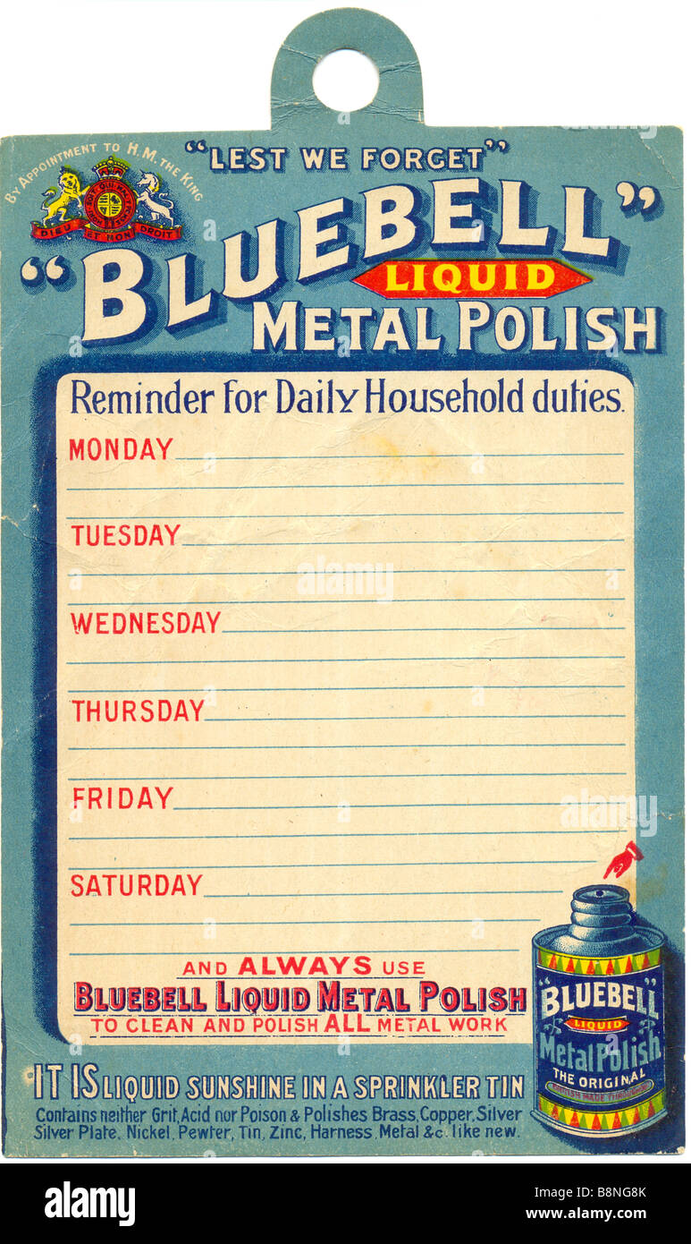 Household reminder given away by Bluebell Metal Polish circa 1905 - Stock Image