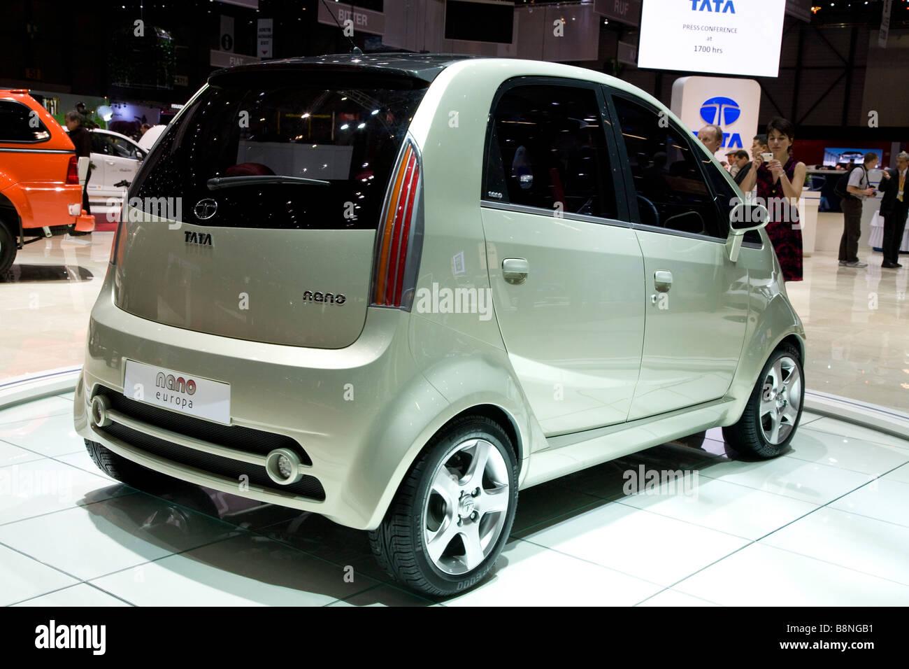 Tata Nano Europa exhibit at a motor show. - Stock Image