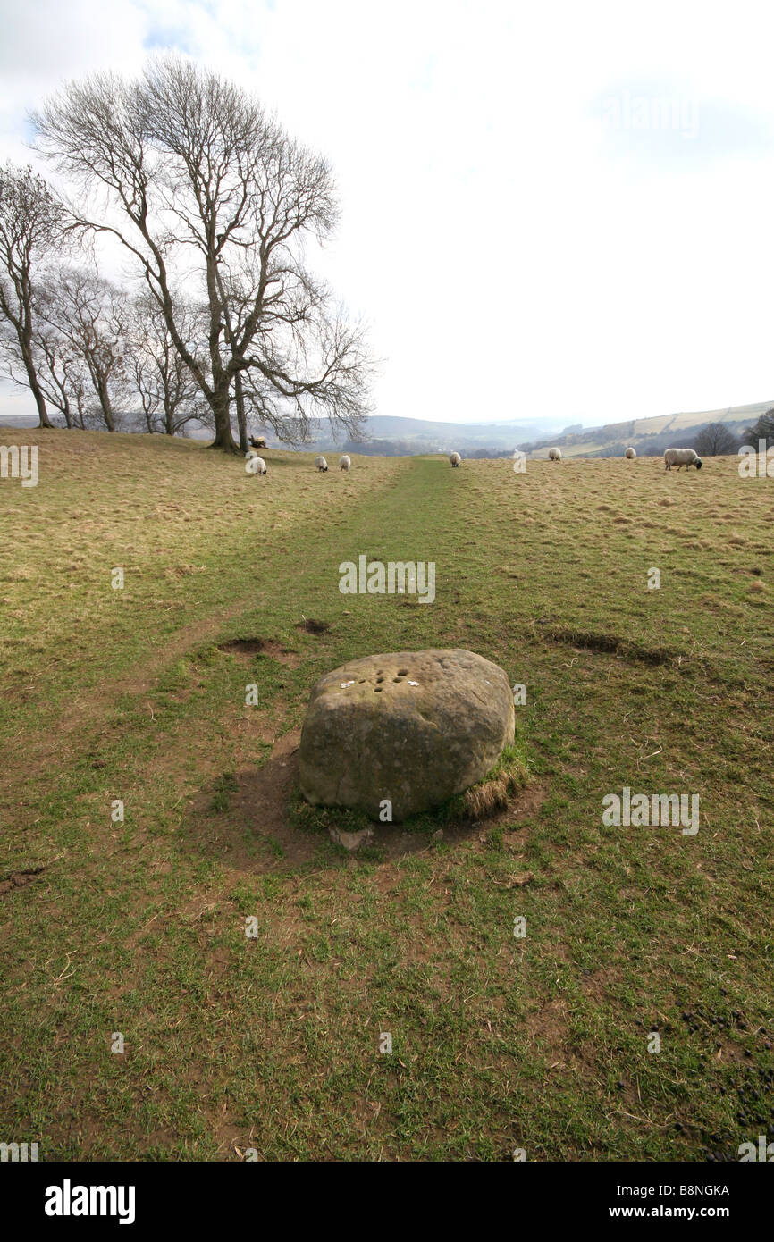 The boundary stone at Eyam the plague village in Derbyshire where coins were left in vinegar to pay for food from - Stock Image
