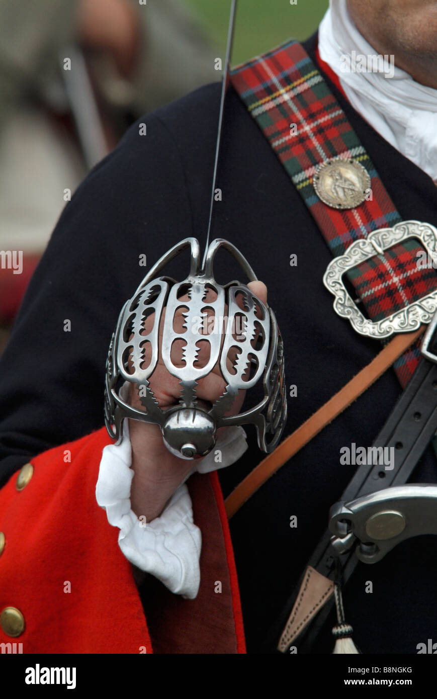 Basket-hilted Claymore sword carried by a Jacobite soldier at the 2008 re-enactment of the Battle of Prestonpans, Stock Photo