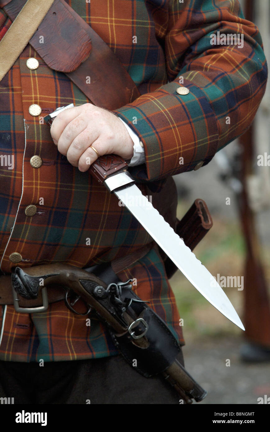 Short sword carried by a Jacobite soldier at the 2008 re-enactment of the Battle of Prestonpans, Scotland. Stock Photo