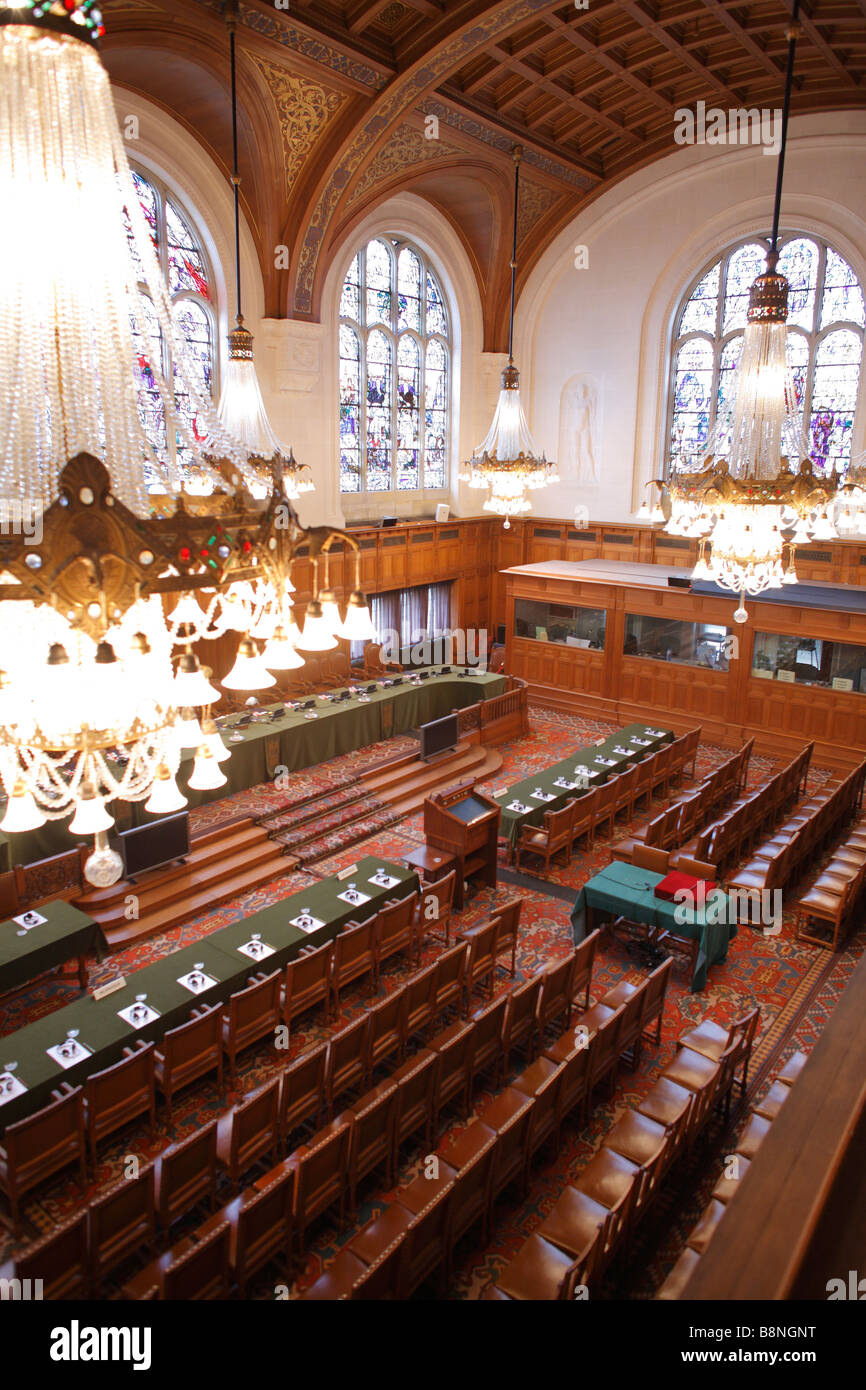 Main Court Room, Interior of the Peace Palace, International Court of Justice, World Court, The Hague, Netherlands - Stock Image