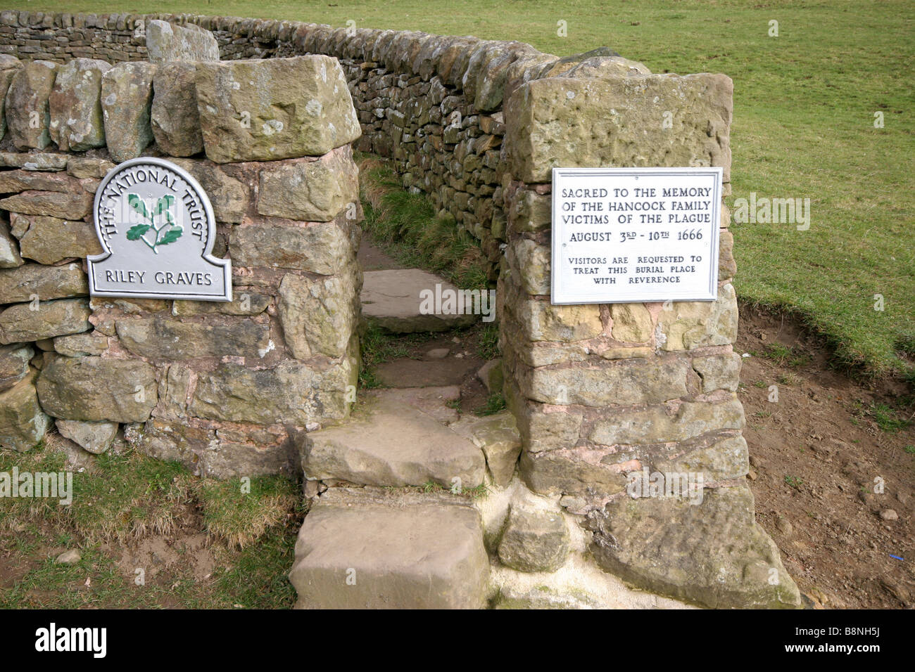 The Riley graves of Black Death plague victims in Eyam derbyshire - Stock Image